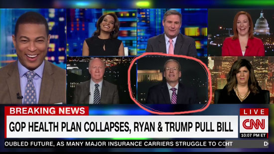 Pundits and CNN moderator laughing about AHCA failure