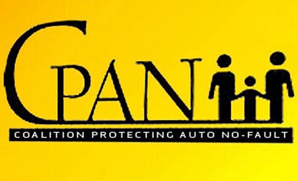 Yellow and Black Logo saying CPAN: Coalition Protecting No-Fault
