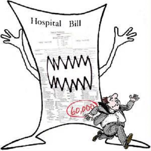 Large Medical bill with scary teeth chasing a cartoon man