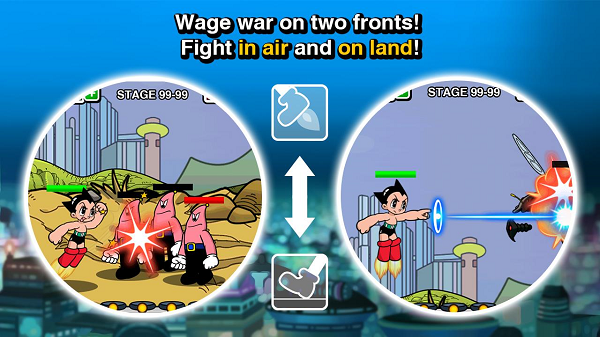 Game Graphic that says, Fight on Two Fronts! Fight in air and on land! with cartoon depictions of the two strategies