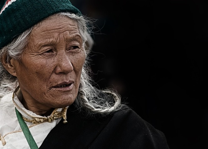 100 year old Tibetan with knit hat